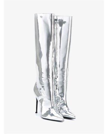 Reflective Silver Metallic Knee High Boots