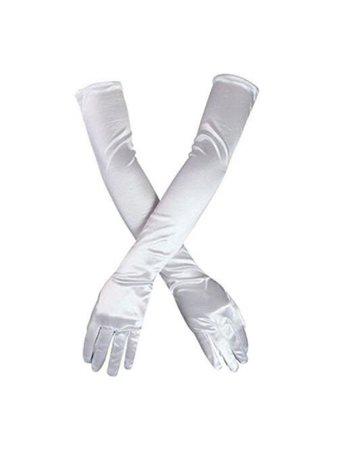 White satin long sleeve gloves