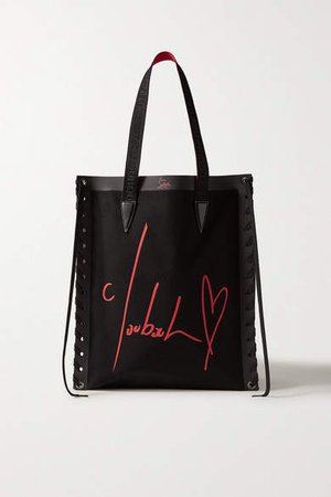 Cabalace Lace-up Leather-trimmed Printed Canvas Tote - Black