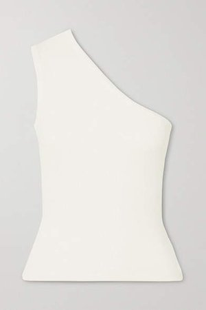 Net Sustain One-shoulder Ribbed Stretch-jersey Tank - White