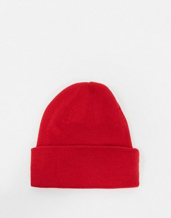 My Accessories London ribbed beanie hat in red | ASOS