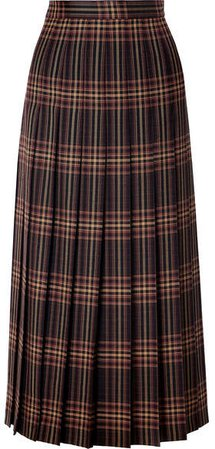 Pleated Checked Wool-twill Midi Skirt - Black