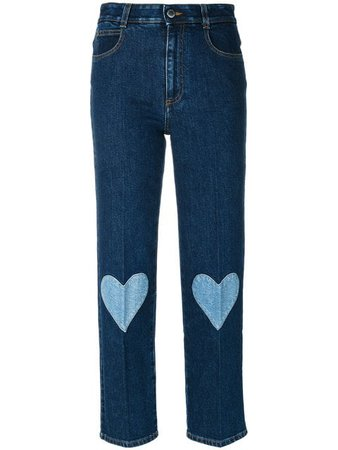 Stella McCartney cropped heart-embroidered jeans $478 - Buy Online - Mobile Friendly, Fast Delivery, Price