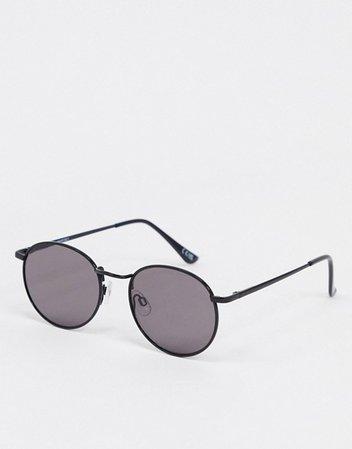 ASOS DESIGN metal round sunglasses in shiny black   ASOS