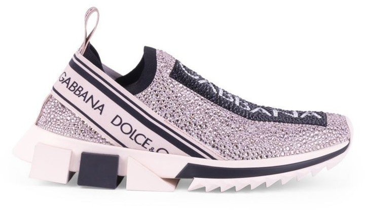 Sorrento Crystal-Embellished Knit Sneakers