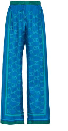 Alberta Ferretti Silk-Satin Logo Wide-Leg Pants