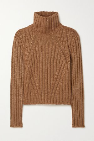 Camel Ribbed silk, mohair and cashmere-blend turtleneck sweater | TOM FORD | NET-A-PORTER