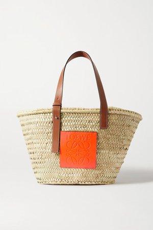 Paula's Ibiza Medium Leather-trimmed Woven Raffia Tote - Orange