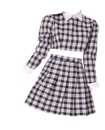 As if Set in Black Checkered Skirt Set