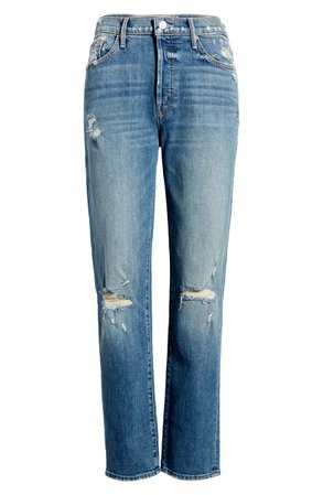 MOTHER The Trickster Ripped Ankle Straight Leg Jeans (On Holy Ground) | Nordstrom