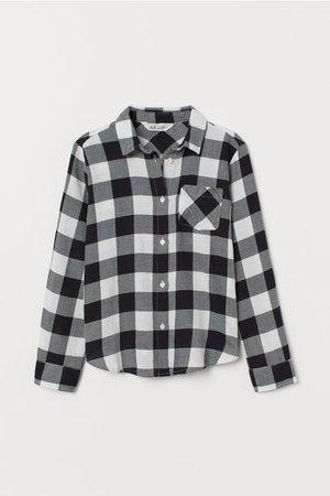Cotton Flannel Shirt - Black/white checked - Kids | H&M US