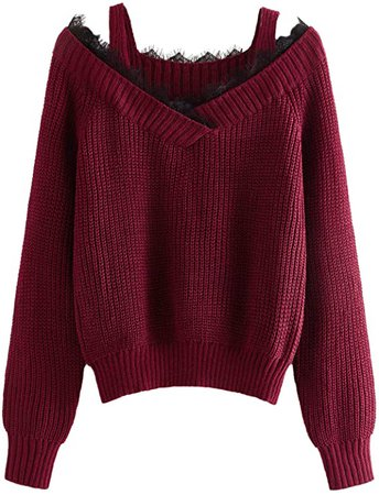 SweatyRocks Women's Casual Cold Shoulder Strappy Long Sleeve Cable Knit Sweater Burgundy XL at Amazon Women's Clothing store