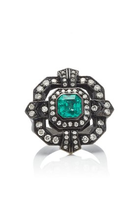 Colette Jewelry 18K Oxidized Gold Diamond and Emerald Ring