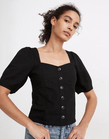 Linen Button-Front Bodice Top