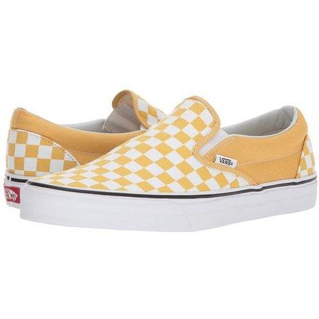 Vans Classic Slip-Ontm ((Checkerboard) Ochre/True White) Skate Shoes