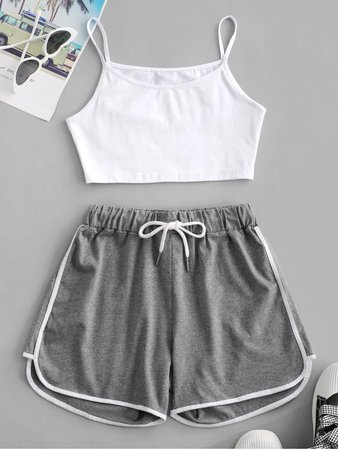 [35% OFF] 2020 Crop Cami Top And Piping Shorts Set In GRAY | ZAFUL