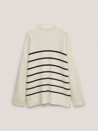 Striped purl knit sweater - Women - Massimo Dutti