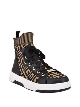 Manney Knit Logo High-Top Sneakers   GUESS