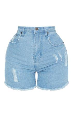 Shape Light Wash Denim Shorts   Curve   PrettyLittleThing USA