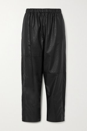 Cropped Faux Leather Straight-leg Pants - Black