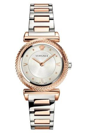 Versace V Motif Bracelet Watch, 35mm | Nordstrom