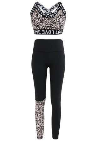 Animal Print Low-Impact Sports Bra and Ankle-Length Leggings Set - Retro, Indie and Unique Fashion
