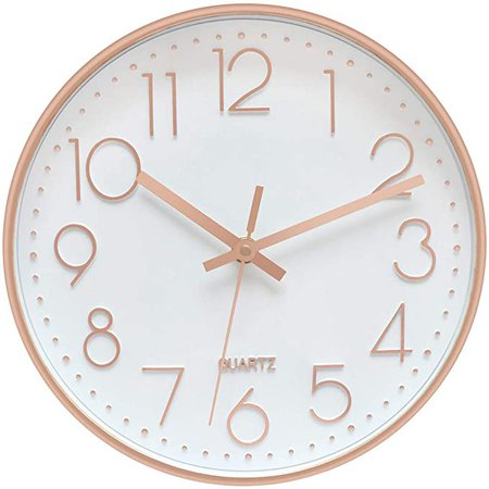 Foxtop Modern Wall Clock, Silent Non-Ticking Quartz Decorative Battery Operated Wall Clock for Living Room Home Office School w Rose Gold Plastic Frame Glass Cover (12 inch, Arabic Numeral): Amazon.ca: Home & Kitchen