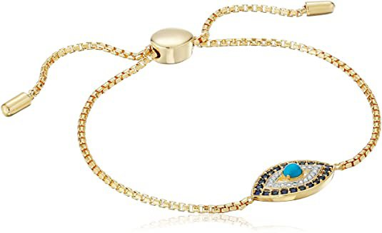 """Amazon.com: 18k Yellow Gold Plated Sterling Silver Turquoise, Created Blue Sapphire, and Diamond Accent Evil Eye Bolo Bracelet, 9"""": Clothing"""