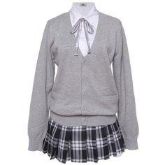 Lemail wig Women's Long Sleeve School Uniform Three-Piece Suit Sweater.