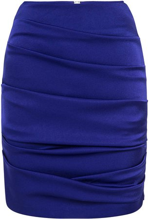 Alex Perry Turner Ruched Satin Mini Skirt Size: 4