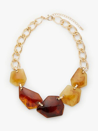 John Lewis & Partners Abstract Chunky Bead Necklace, Lime/Tortoise at John Lewis & Partners