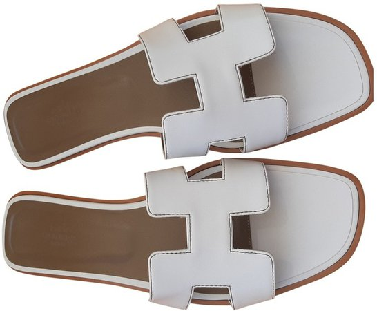 Oran White Leather Sandals