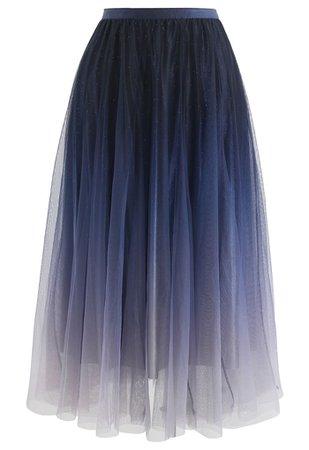 Gradient Glittery Velvet Mesh Midi Skirt in Navy - Retro, Indie and Unique Fashion