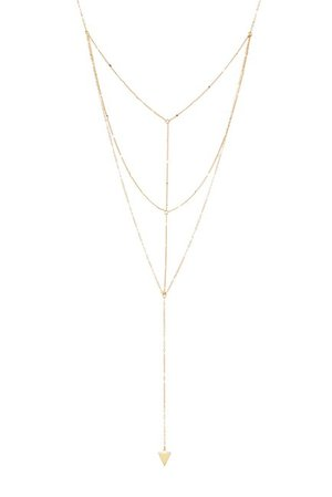 Sterling Forever 14K Gold Plated Triple Layer Triangle Drop Chain Necklace