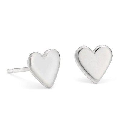 heart stud earrings silver