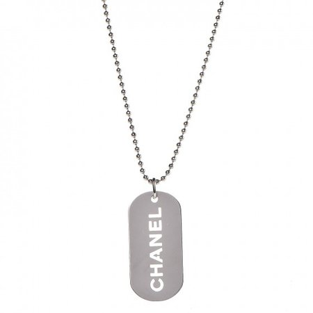Chanel Silver Dog Tag Necklace