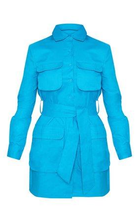 Blue Utility Shirt Dress | Dresses | PrettyLittleThing USA