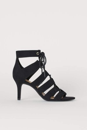 Sandals with Lacing - Black
