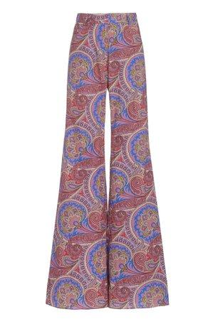 Alexis Salima Paisley Cotton-Twill Flared-Leg Pants