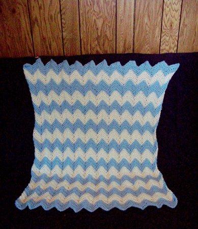 Crochet Baby Blanket Chevron Design Light Blue And White | Etsy