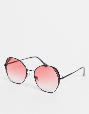Jeepers Peepers oversized angled sunglasses in black with pink lens and lens detail   ASOS