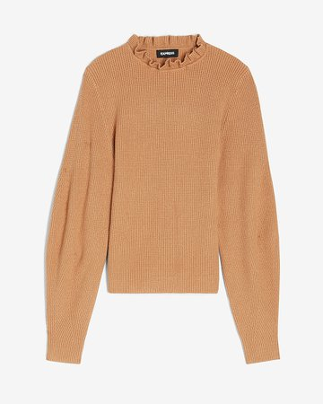 Ribbed Ruffle Neck Balloon Sleeve Sweater | Express