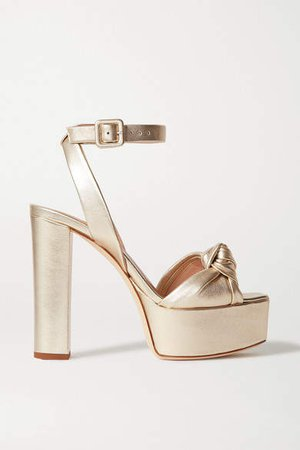Knotted Metallic Leather Platform Sandals - Gold