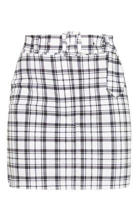White Tartan Check Belted Mini Skirt   Skirts   PrettyLittleThing