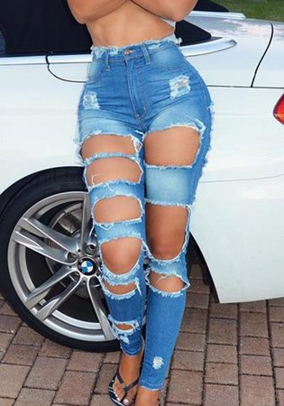 Light Blue Pockets Cut Out High Waisted Plus Size Ripped Long Girls Jeans - Jeans - Bottoms