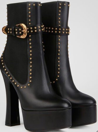Black Boots +. Gold Accents