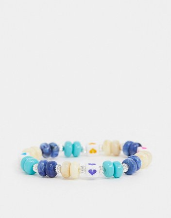 ASOS DESIGN stretch bracelet with bead and love heart charm | ASOS