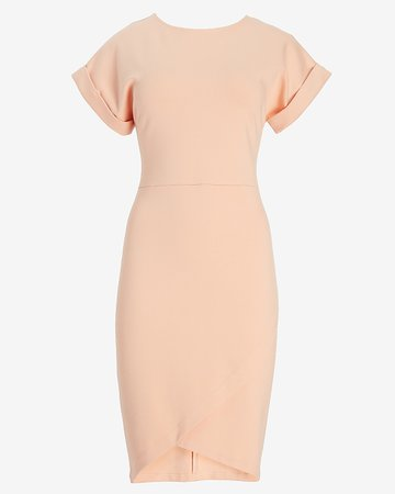 Rolled Sleeve Wrap Front Sheath Dress | Express