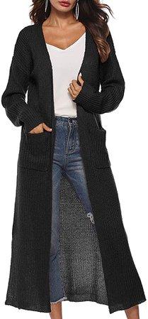 Womens Casual Long Sleeve Split Hem Open Front Cardigan Long Maxi Cardigan Sweaters longine dusters Black at Amazon Women's Clothing store