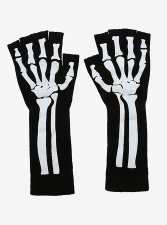 Skeleton Extended Fingerless Gloves